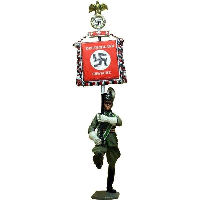 German schutzpolizei on parade 1940 standard bearer