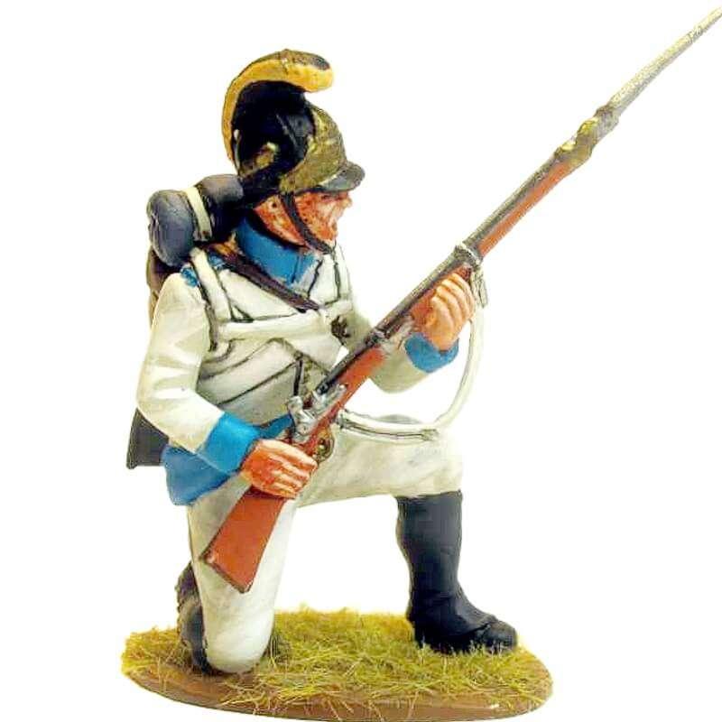 Regimiento infantería Austriaco Lindenau 1805 fusilero arrodillado defendiendo