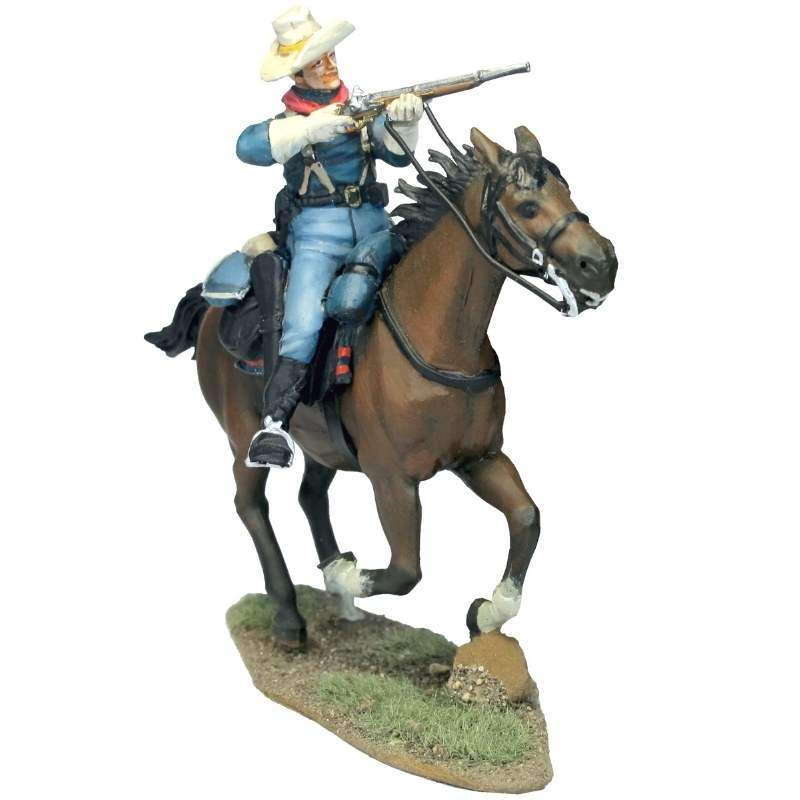 Soldado caballería Estados Unidos disparando carabina