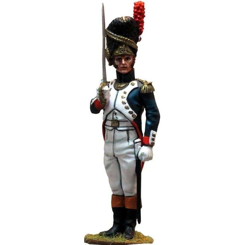 French imperial guard grenadiers officer saluting